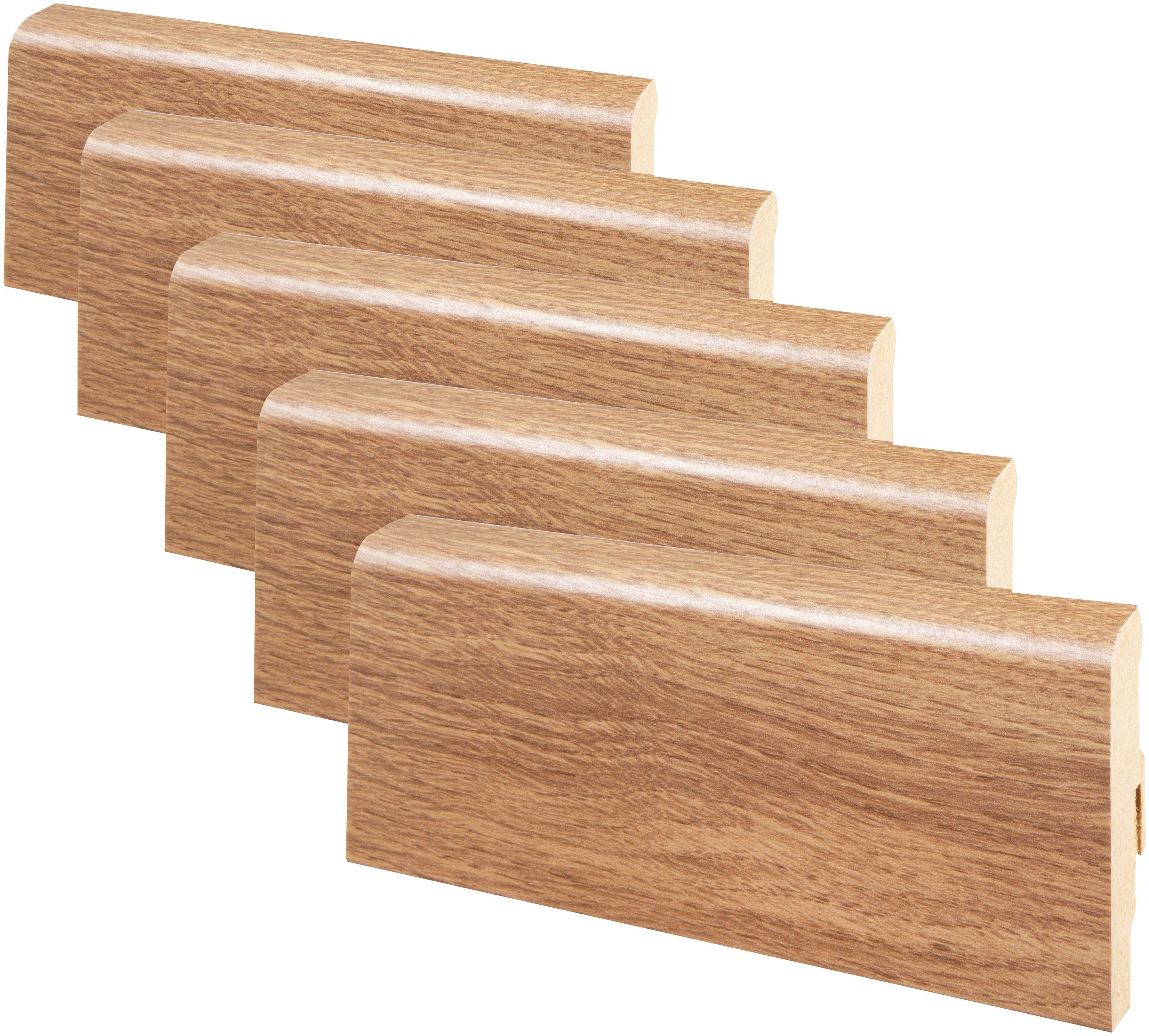 MODERNA Sockelleiste »Designfußleiste DFL 60 - Suna Eiche«, 5er-Pack, Höhe: 6 cm