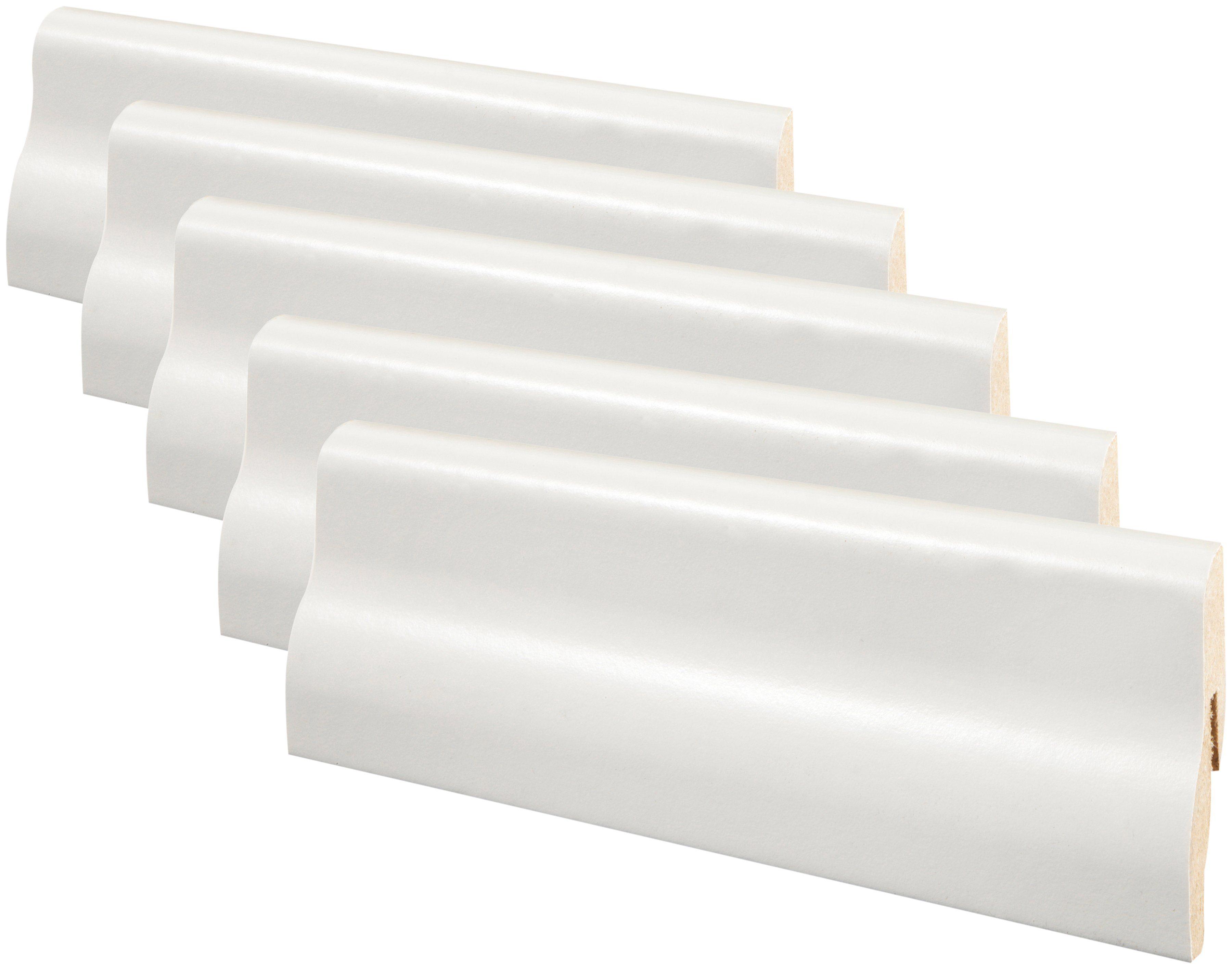 MODERNA Sockelleiste »Steck-Fußleiste SFL 50 - weiß«, 5er-Pack, Höhe: 5 cm