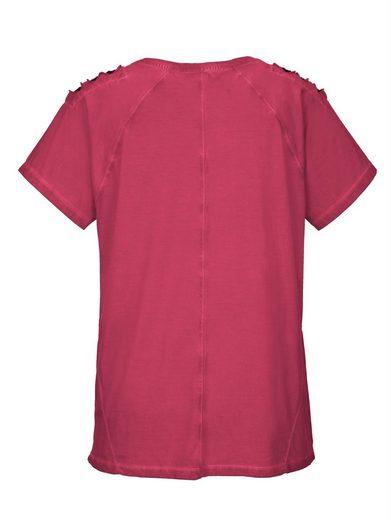 MIAMODA Shirt mit unterlegter Loch-Optik an den Schultern