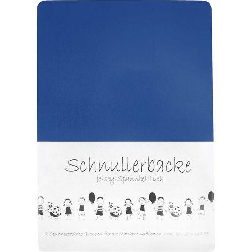 Spannbettlaken blau 2er Set, Jersey, 70 x 140 cm