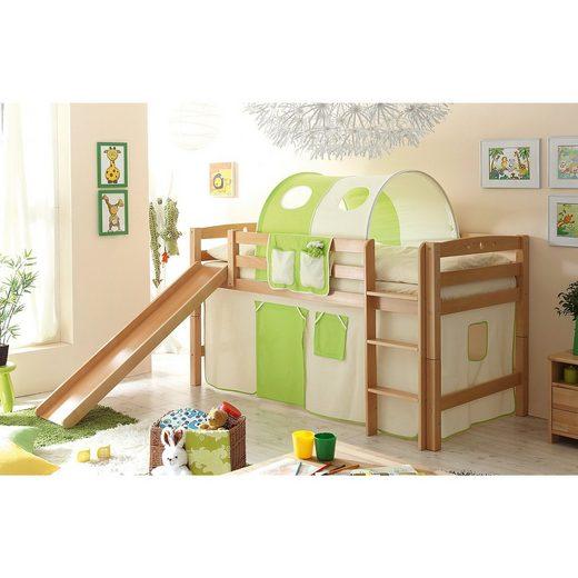 Ticaa Spielbett Theo R, Buche massiv, natur lackiert, beige-grün