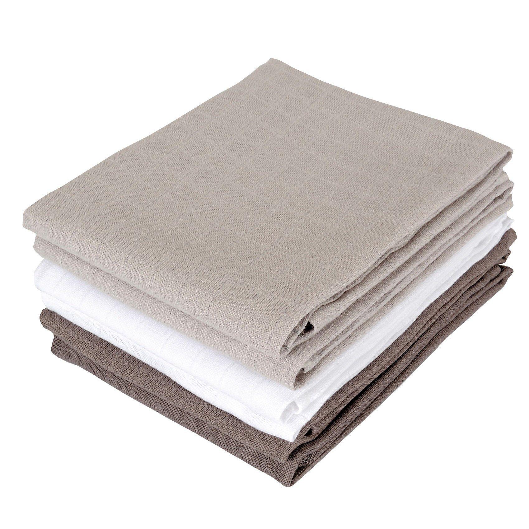 Jollein Mullwindeln, grau/anthrazit/weiß, 70 x 70 cm, 6er Pack