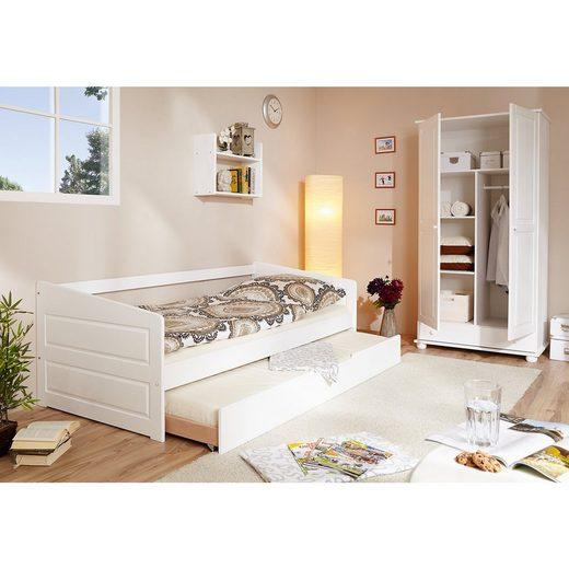 Ticaa Sofabett mit Auszug, Micki, Buche massiv, weiß, 90 x 200 cm