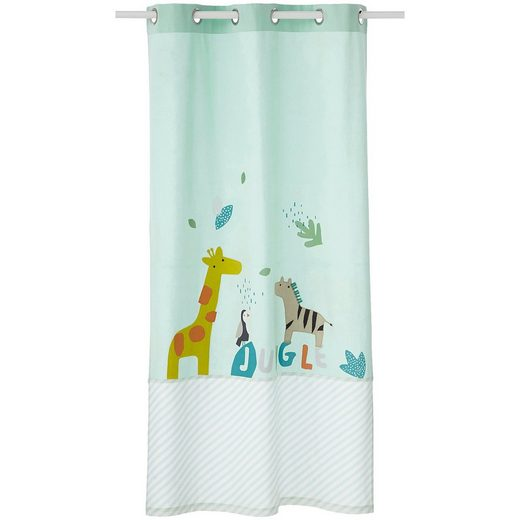 vertbaudet Blickdichter Vorhang, Dschungeltiere, grün bedruckt, 105 x 2