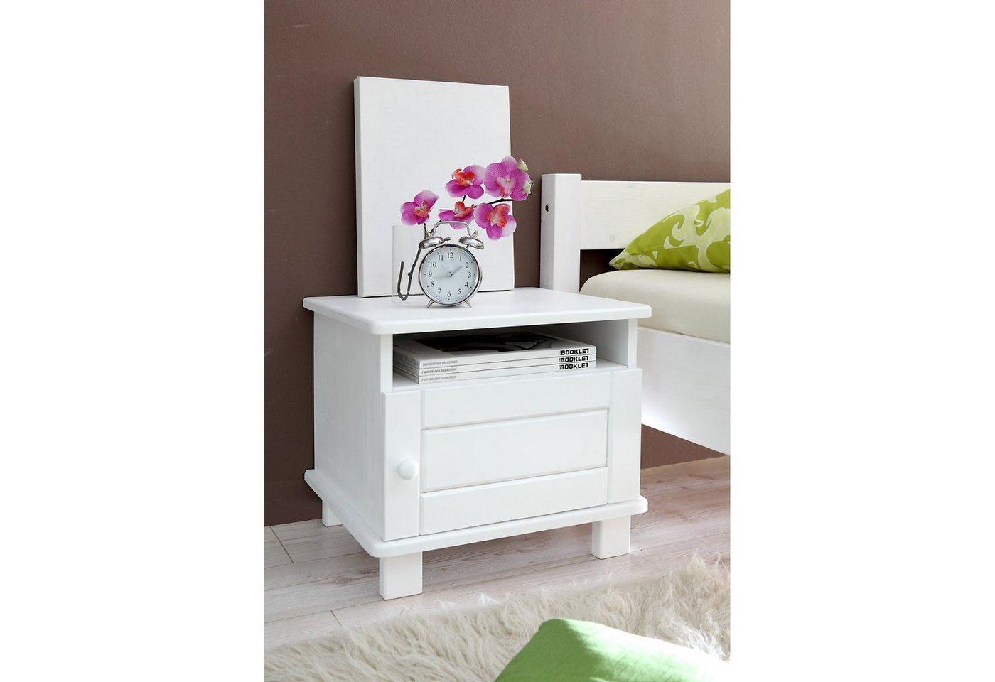 Ticaa Nachttisch Bora, Kiefer massiv weiß   Schlafzimmer > Nachttische   Weiß   Ticaa