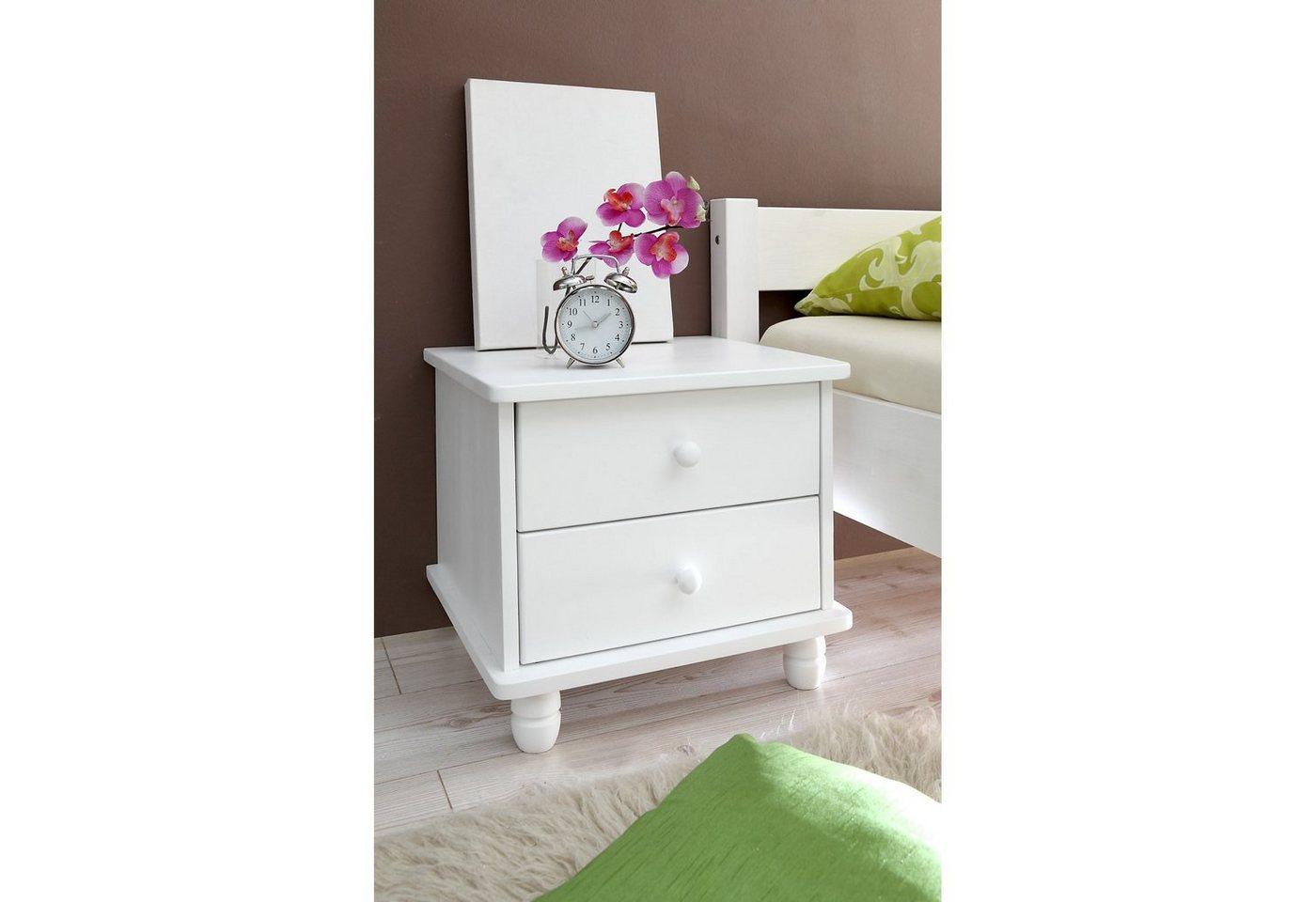 Ticaa Nachttisch Kathrin, Kiefer massiv weiß   Schlafzimmer > Nachttische   Weiß   Ticaa