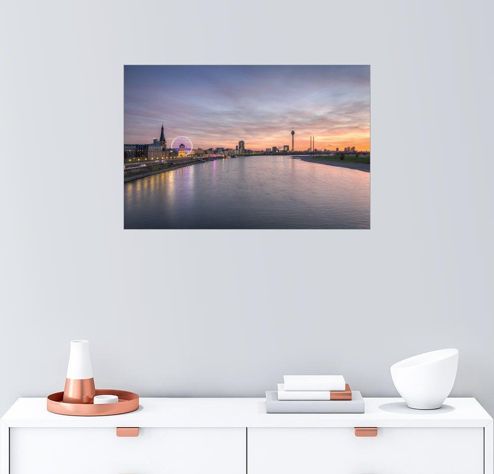 Posterlounge Wandbild - Michael Valjak »Düsseldorf Skyline« | Dekoration > Bilder und Rahmen > Bilder | Holz | Posterlounge