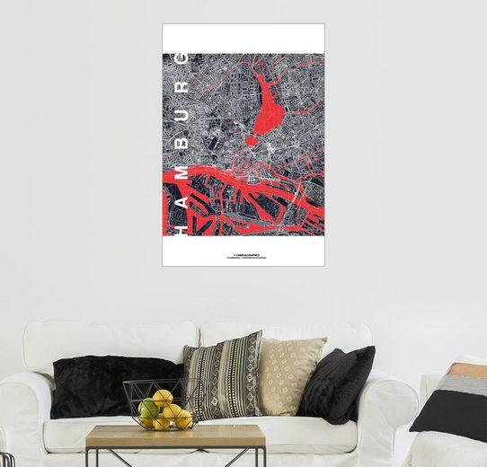 Posterlounge Wandbild - campus graphics »Hamburg Stadt Karte Mitternacht«