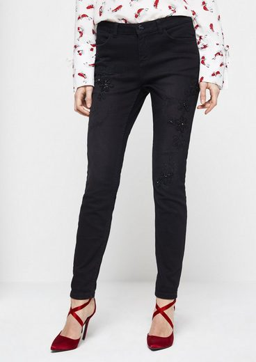 COMMA Black Denim-Jeans mit dekorativen Stickereien