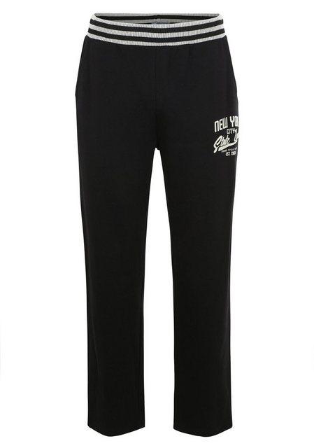 AHORN SPORTSWEAR Sweatpants mit modischem Print | Bekleidung > Hosen > Sweathosen | Schwarz | Baumwolle - Polyester | AHORN SPORTSWEAR