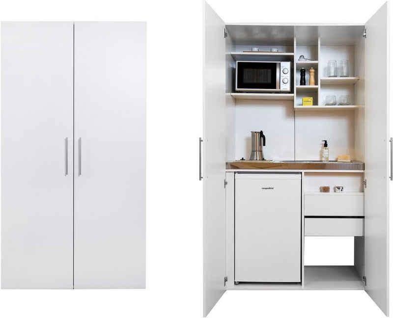 RESPEKTA Miniküche mit Glaskeramik-Kochfeld, Kühlschrank und Mikrowelle