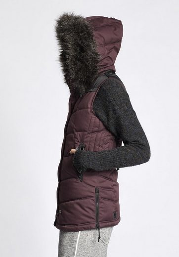 Eat Khujo Quilted Vest With Rib Collar With Removable Knit Collar