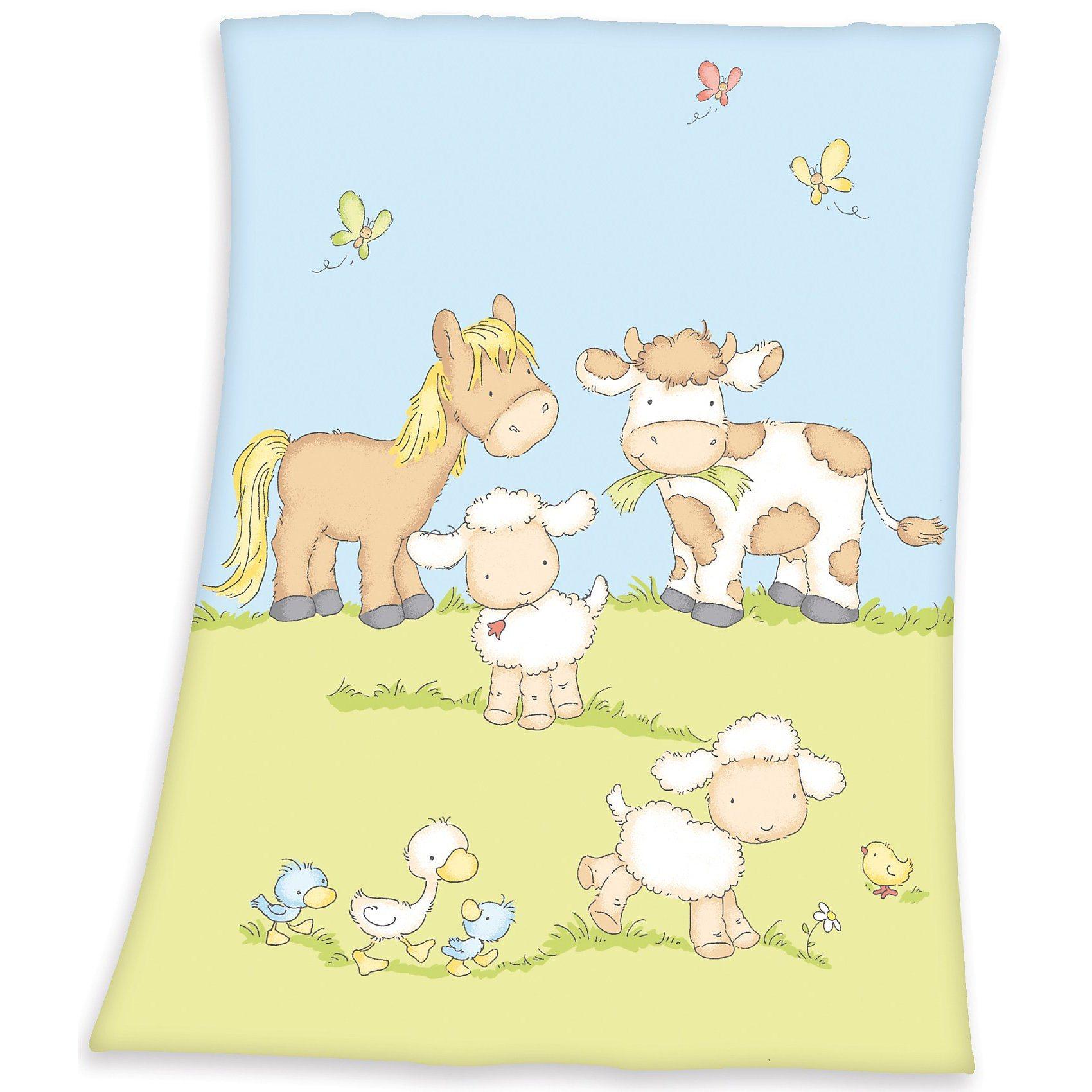 Herding Babydecke Fynn, Farmtiere, 75 x 100 cm | Kinderzimmer > Textilien für Kinder > Babytextilien | Polyester | Herding