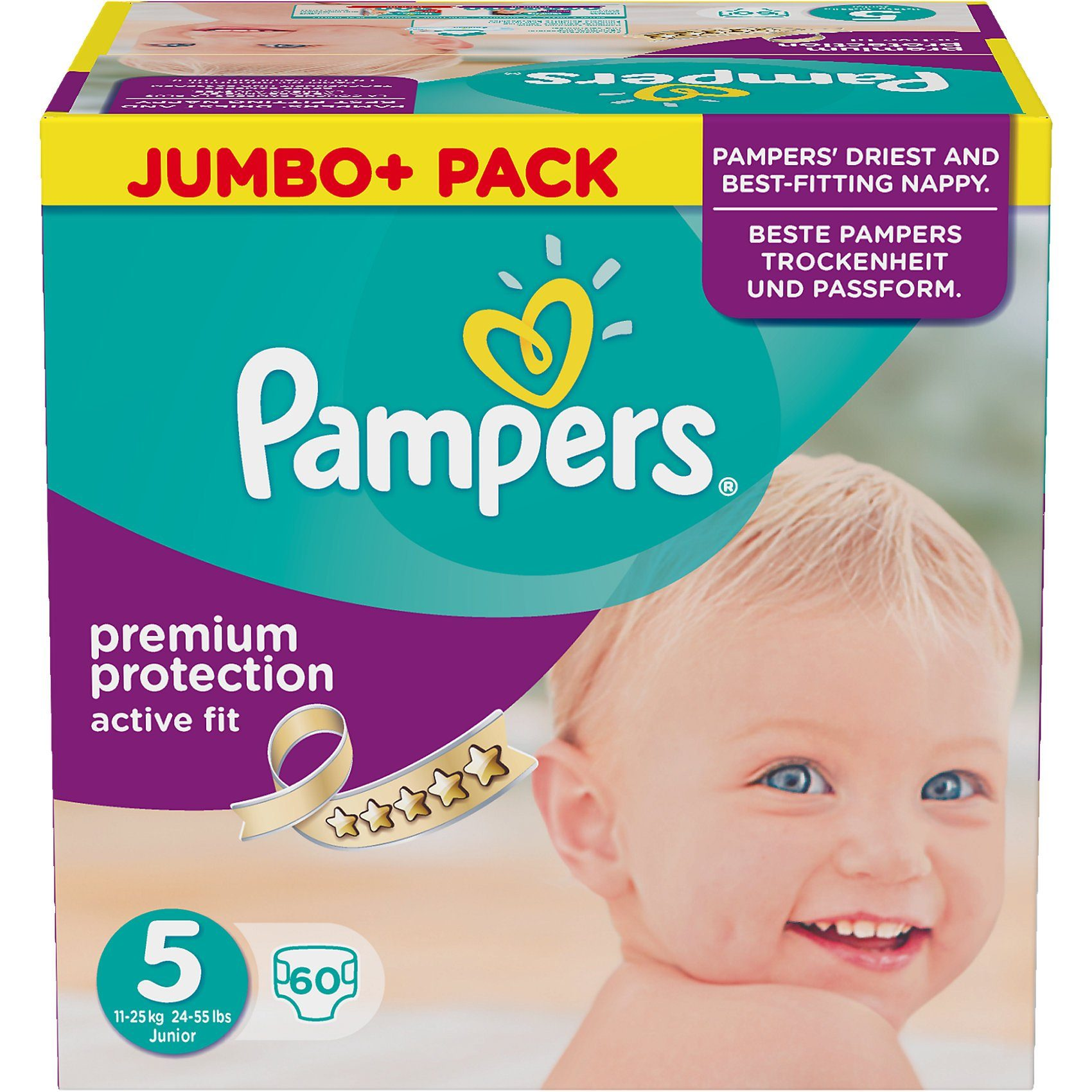 Pampers 1x60 Stück Active Fit Gr.5 Junior 11-23 kg Jumbo plus Pack