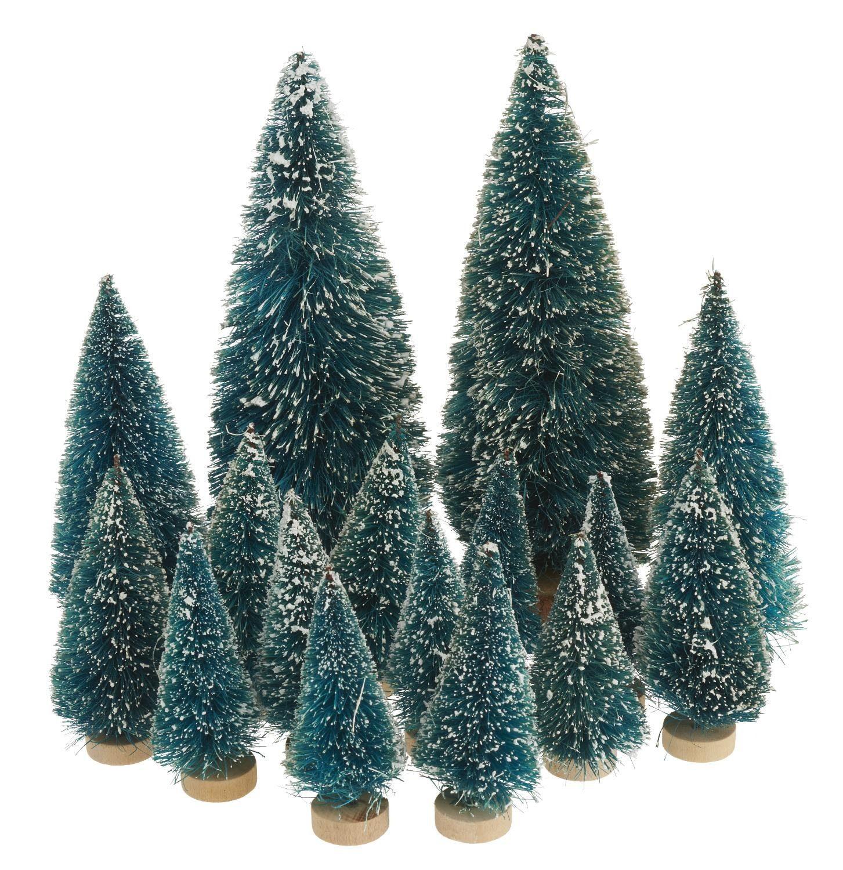 VBS Großhandelspackung 16-tlg. Miniatur-Tannenbaum-Set beschneit
