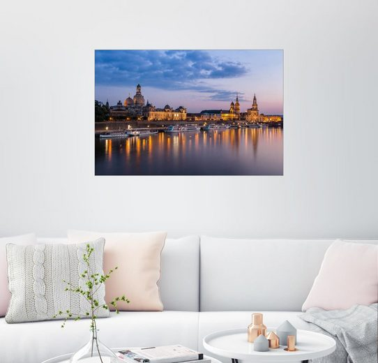Posterlounge Wandbild - Michel Lask »Silhouette zu Dresden am Abend«