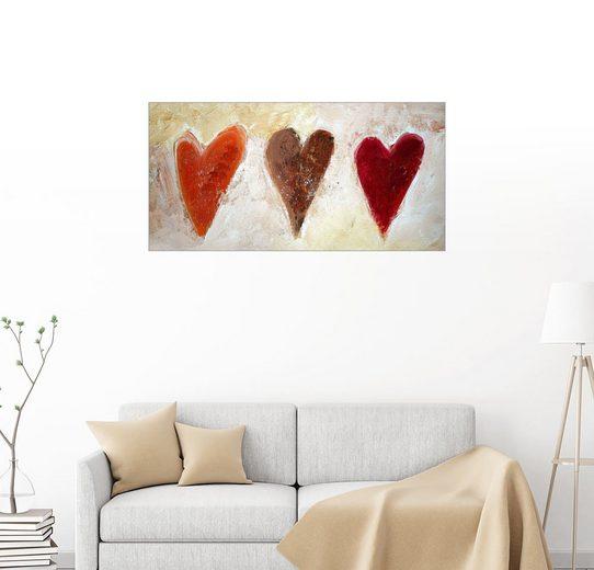 Posterlounge Wandbild - Tina Melz »3 Herzen«