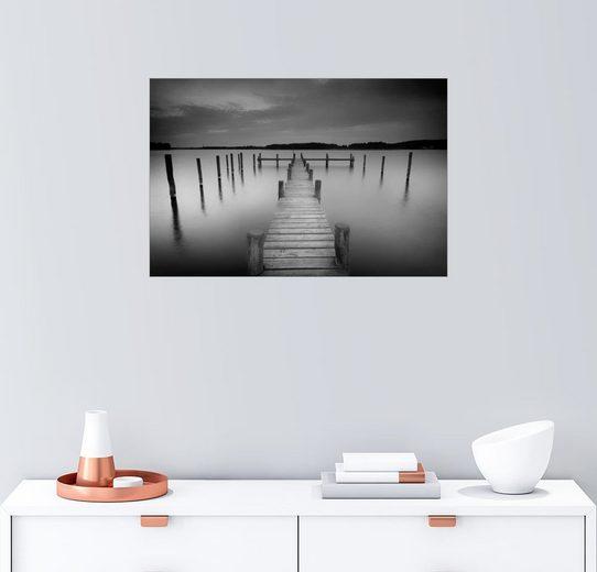 Posterlounge Wandbild - Filtergrafia »Alter Holzsteg im stillen Wasser«