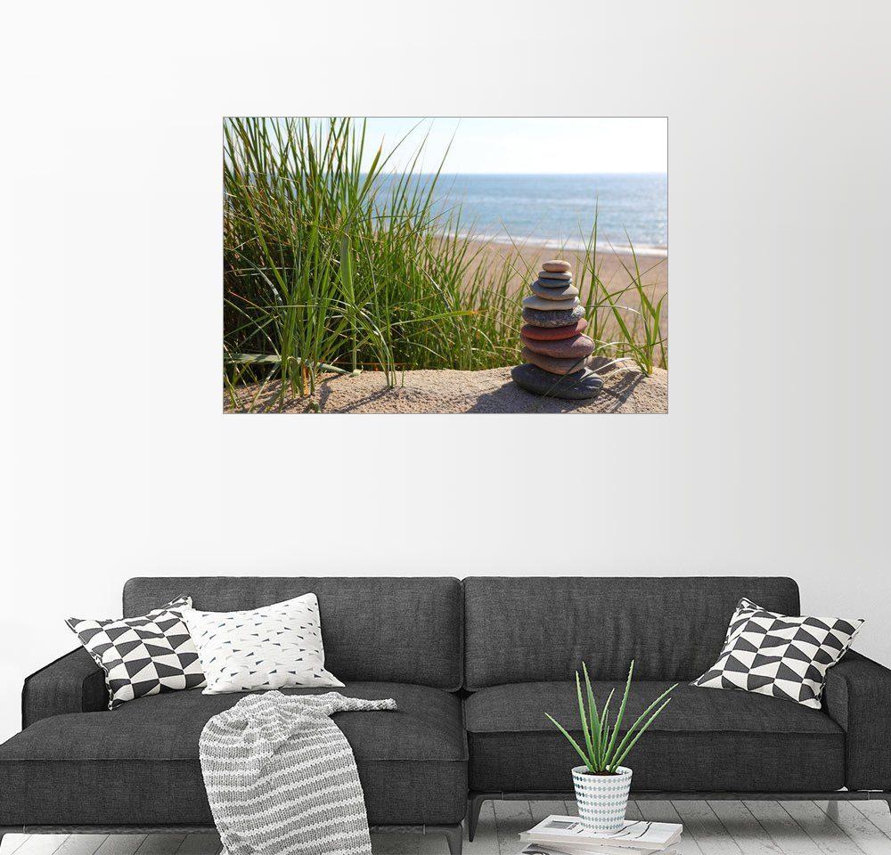 Posterlounge Wandbild - Buellom »Steinturm und Blick auf das Meer«