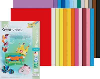 Folia Papierkarton »Kreativpack Tonpapier/Fotokarton«, 50 Blatt