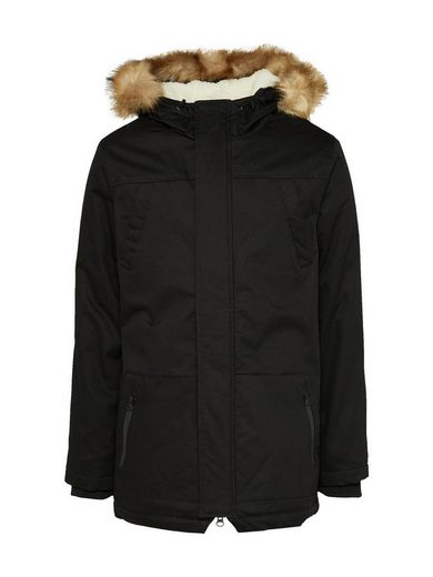 URBAN CLASSICS Kurzjacke Heavy Cotton Imitation Fur, Kapuze mit Tunnelzug