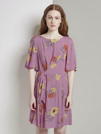 TOM TAILOR Denim Minikleid »Kurzes Kleid mit Knoten-Detail im floralen Muster«