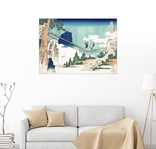 Posterlounge Wandbild - Katsushika Hokusai »Hängebrücke zwischen Hida und Etchu«