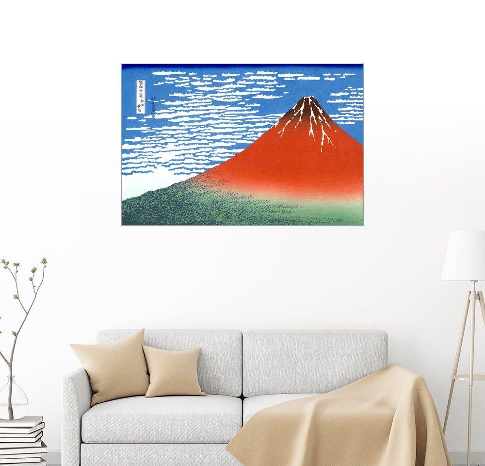 Posterlounge Wandbild - Katsushika Hokusai »Der Fuji bei klarem Wetter« bunt  Bilder
