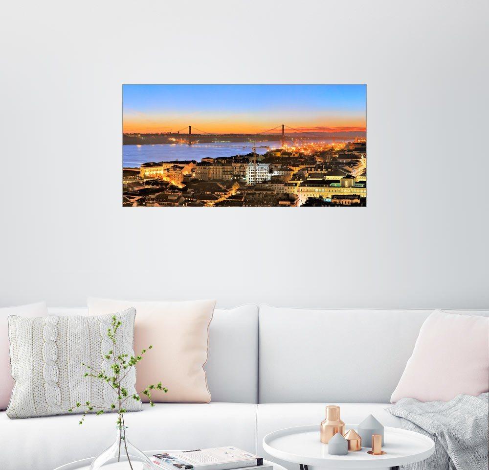 Posterlounge Wandbild - Fine Art Images »Lissabon Panorama« | Dekoration > Bilder und Rahmen > Bilder | Bunt | Posterlounge