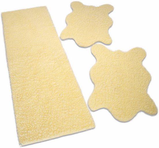 Bettumrandung »Fell uni« KiNZLER, Höhe 25 mm, (3-tlg), Fellform, Kunstfell