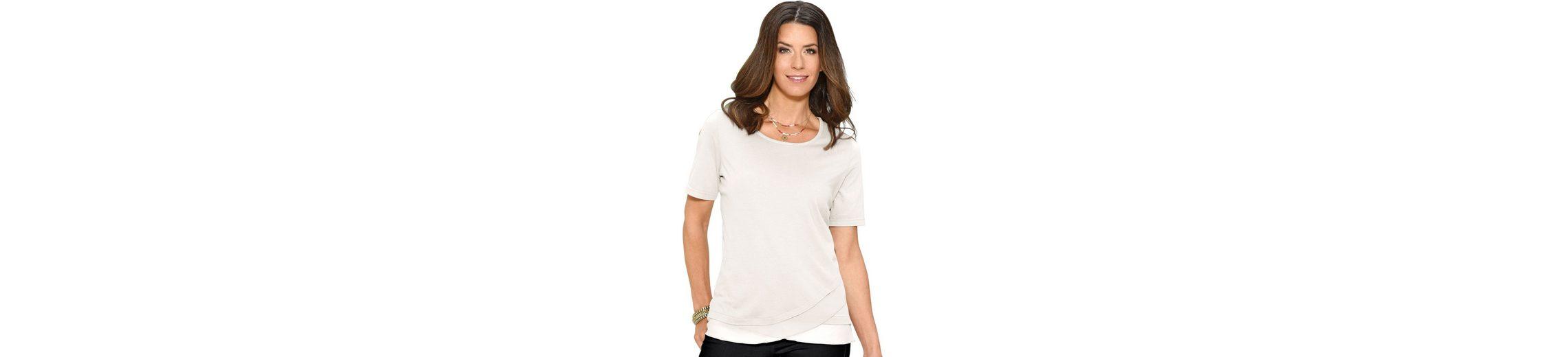 Classic Basics Shirt mit abgerundetem Chiffon-Saum Billig Verkauf Sammlungen H5ZNDsSSz