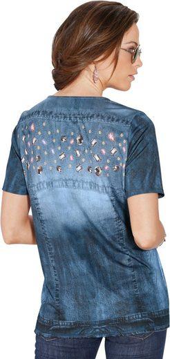 Classic Basics Shirt mit pfiffigem Jeansjacken-Druck
