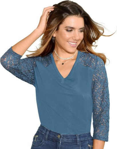 Classic Basics Shirt mit Ärmel aus Spitze
