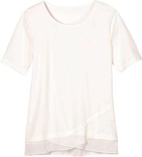 Classic Basics Shirt mit abgerundetem Chiffon-Saum