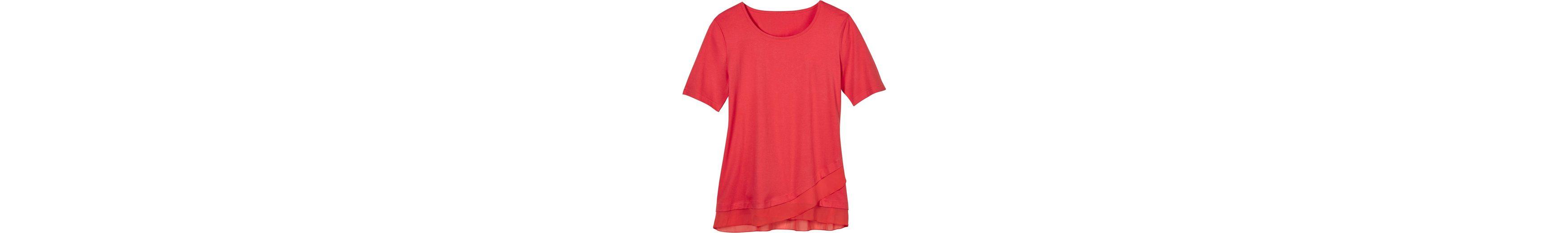 Chiffon Chiffon mit Classic Shirt Basics Basics Saum mit abgerundetem Classic abgerundetem Shirt Saum RPwq5xH