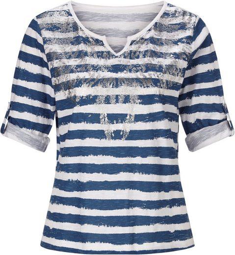 Classic Inspirationen Shirt mit plakativem, silberfarbenem Metallic-Druck