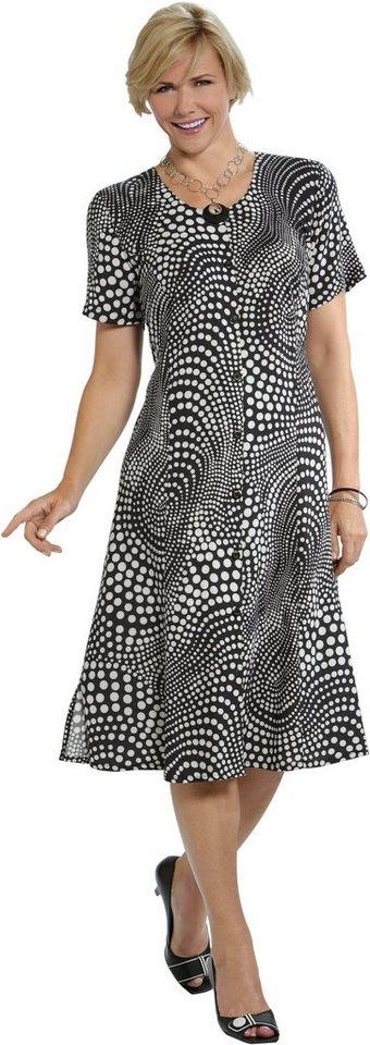 Damen Classic Basics Kleid im Punkte-Look schwarz | 08693458053050