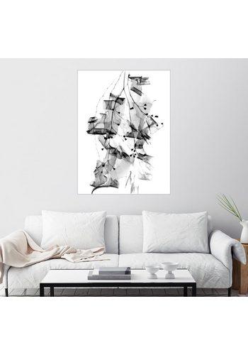 Posterlounge Wandbild Pflanzenlaub und Rinde weiß   04053822966432