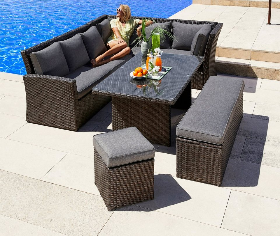 gartenm belset mallorca 17 tlg 2x 3er sofa bank hocker tisch 150x85 polyrattan online. Black Bedroom Furniture Sets. Home Design Ideas