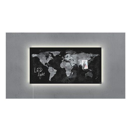 Sigel Glas-Magnettafel GL409 »Artverum LED light Worldmap«