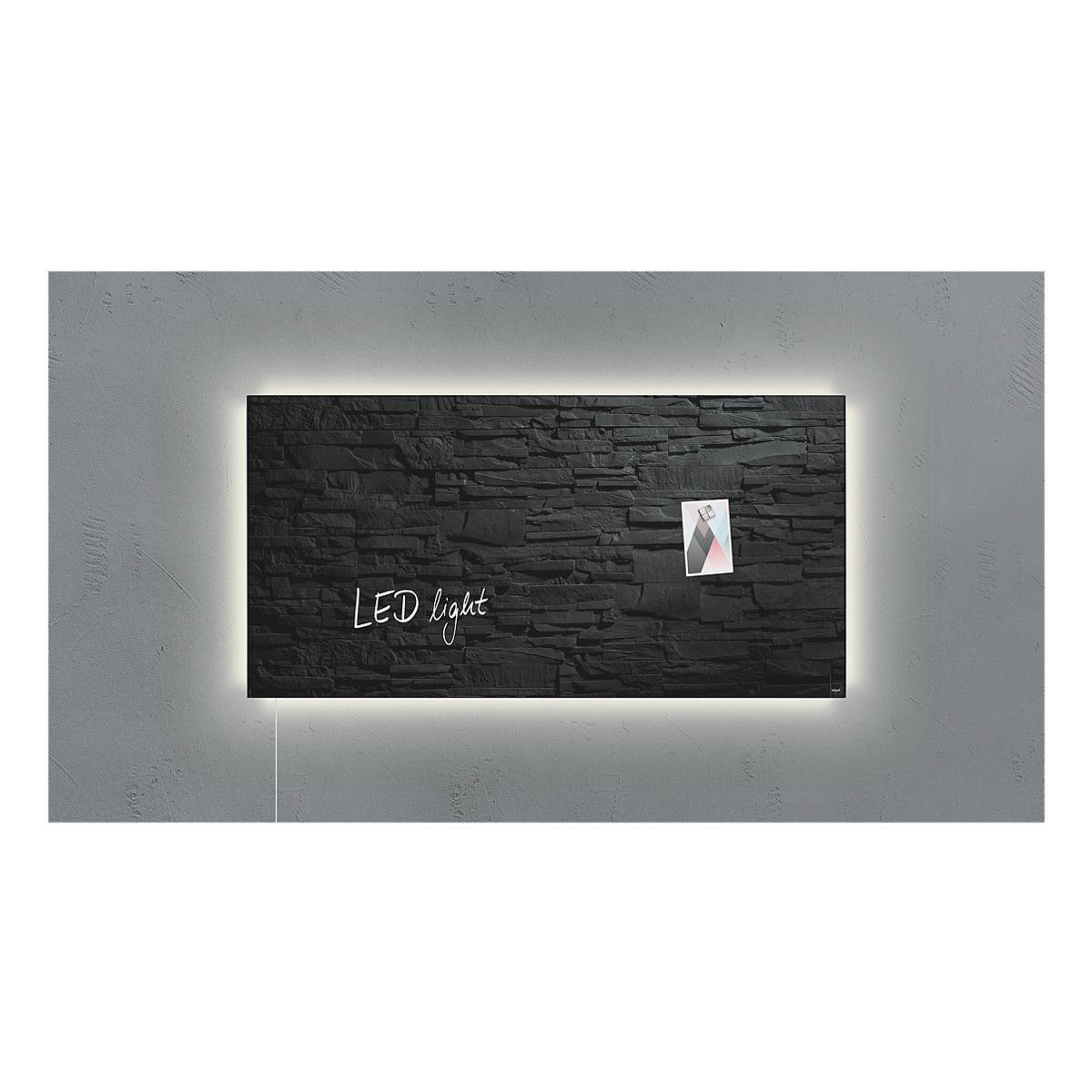 Sigel Glas-Magnettafel GL407 »artverum® LED light Schiefer-Stone«