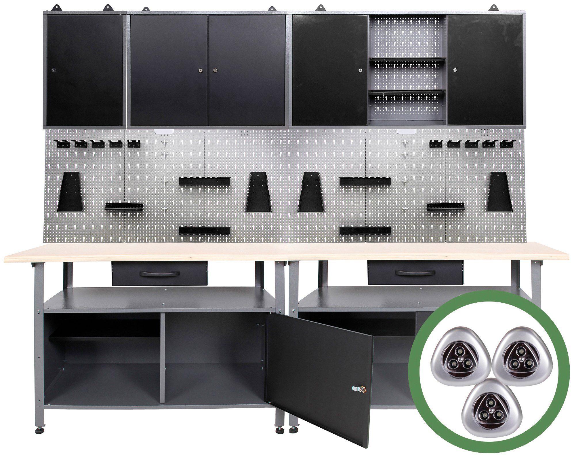 ONDIS24 Werkstatt-Set , 240 cm, mit 2 LED Lampen