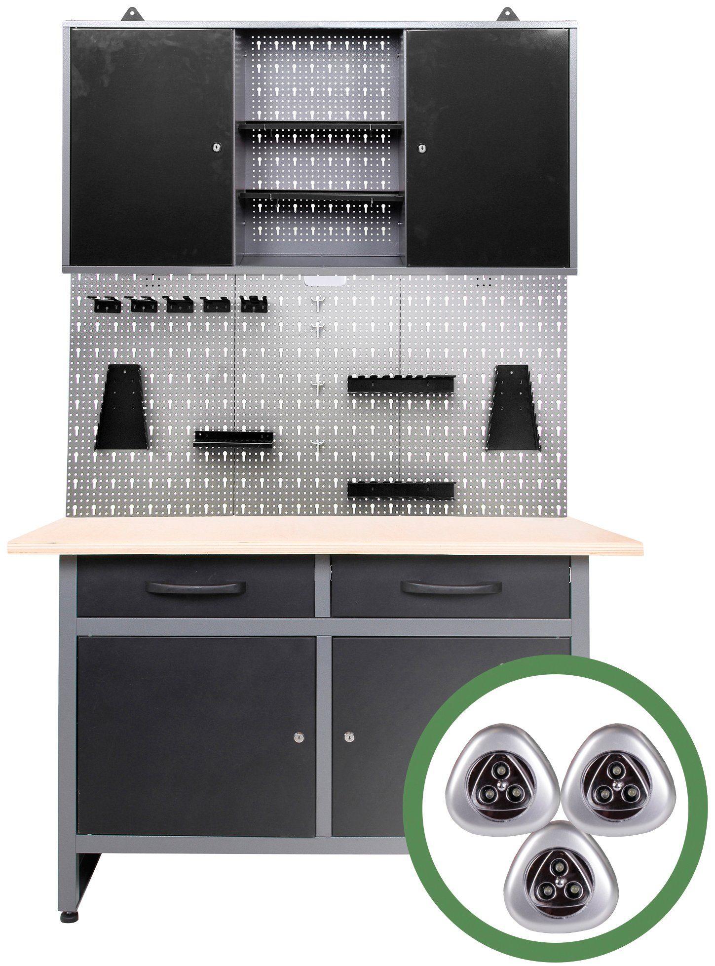 ONDIS24 Werkstatt-Set »Werner«, 120 cm, mit Lochwandsystem inkl. Haken, mit LED
