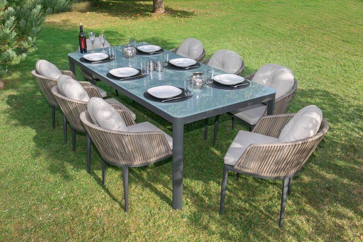 BELLASOLE Gartenmöbelset , 25-tlg., 8 Sessel, Tisch 100x78 cm, Alu/Polyrattan