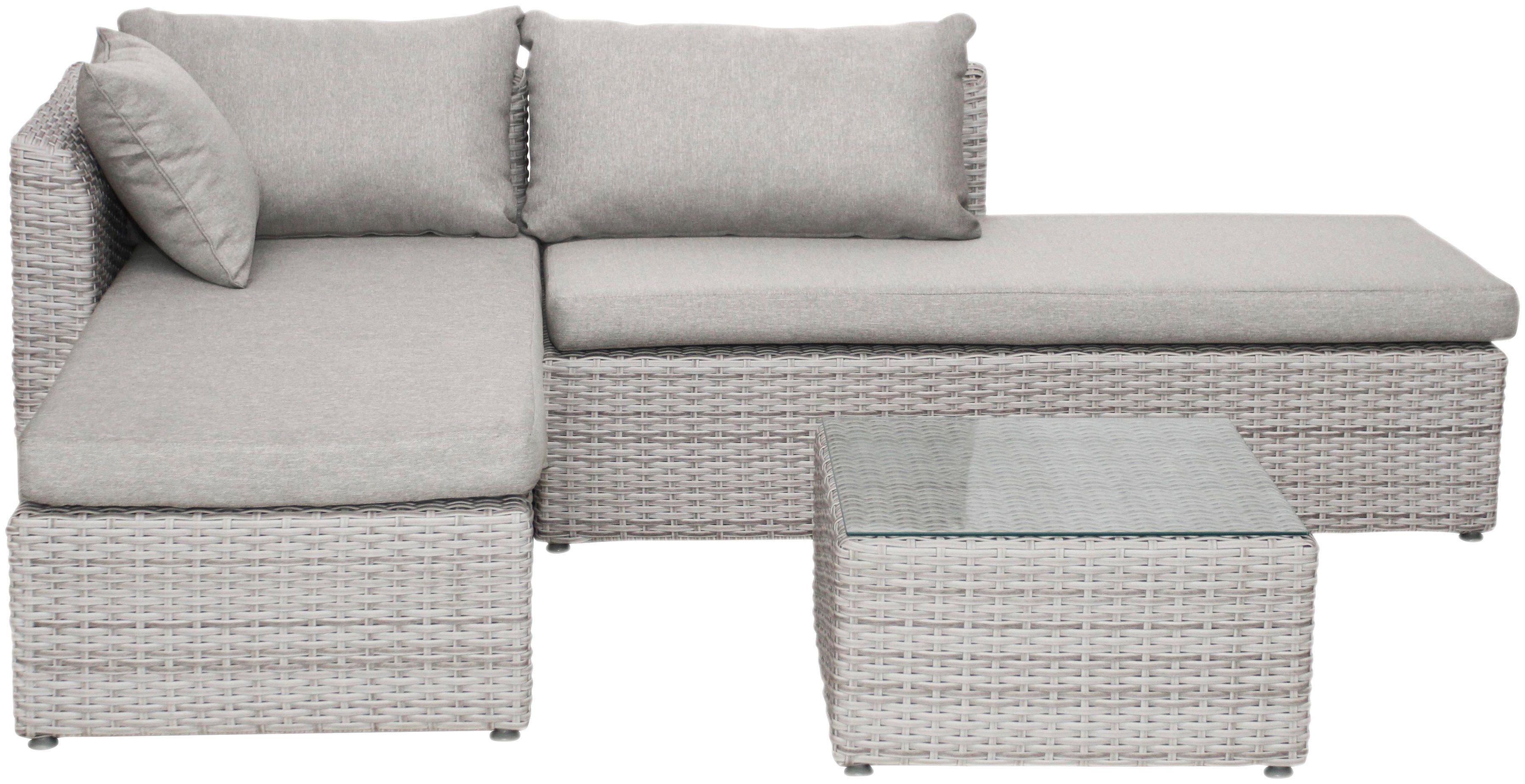 BELLASOLE Loungeset , 8-tlg., Ecklounge, Tisch 60x60 cm, Polyrattan, cremeweiß