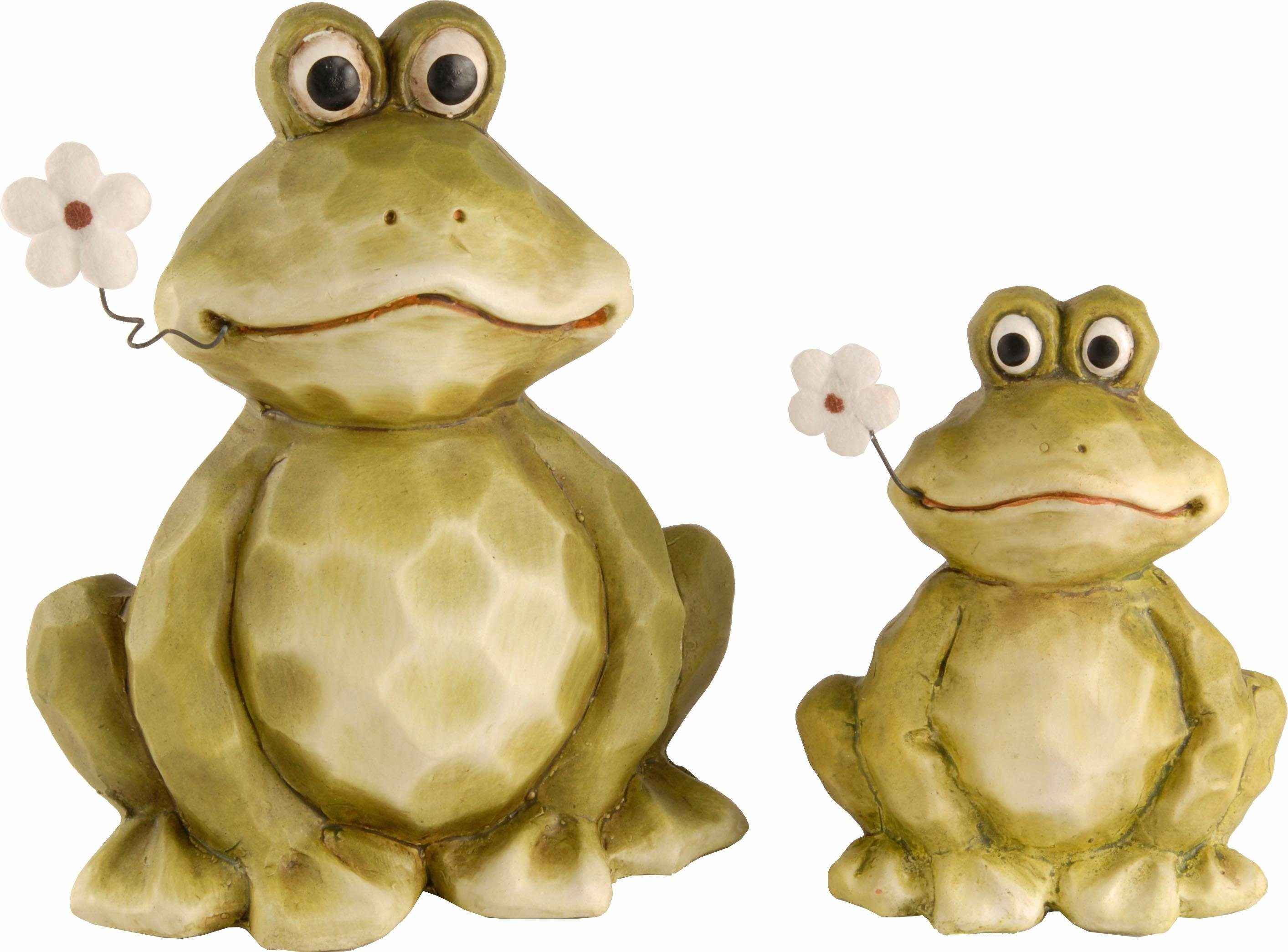Home affaire Dekofigur »Frosch mit Blume« (2er Set)