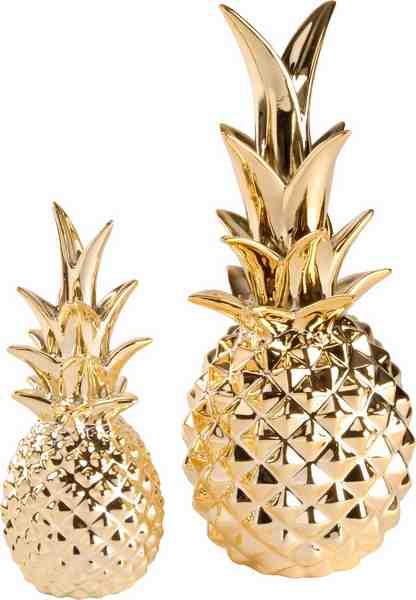 Home affaire Dekoobjekt »Ananas gold Porzellan« (2er Set)