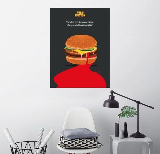 Posterlounge Wandbild - Golden Planet Prints »Alternative pulp fiction burger quote art«