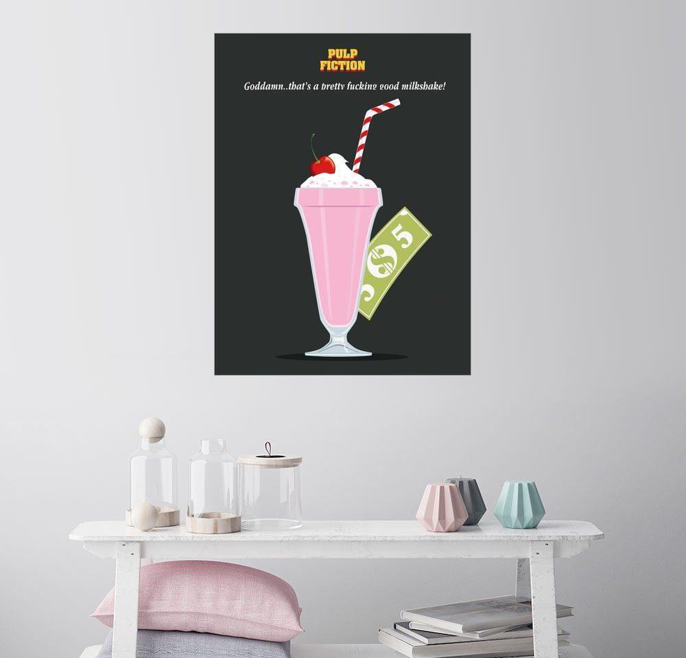 Posterlounge Wandbild - Golden Planet Prints »Alternative pulp fiction mia wallace milkshake«