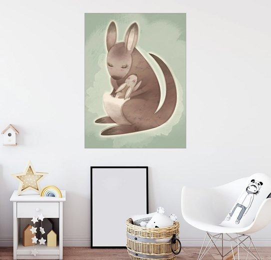 Posterlounge Wandbild - Ashley Verkamp »Mamma und Baby-Känguru«